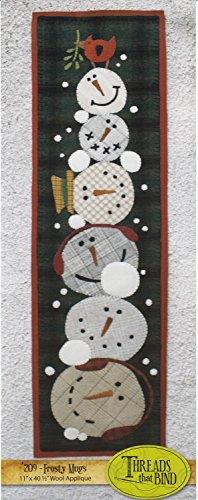 Frosty Mugs 209 Snowmen Snow Cardinal Threads that Bind Wool Applique Pattern (Applique Snowman)