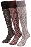 Women Knit Warm Over Knee Thigh High Boot Socks 3 Pairs Size 5-11 WS35 (mixed1)