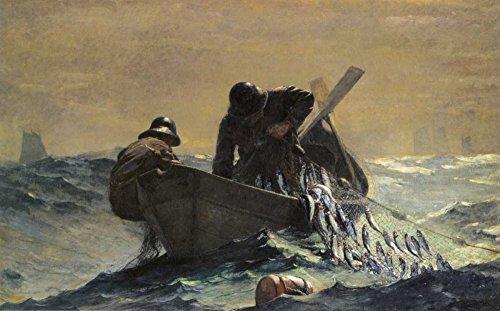 "The Herring Net by Winslow Homer 7"" x 11"" Giclee Canvas Art Print"