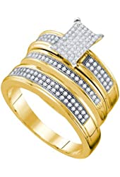 10K Yellow Gold Diamond Mens and Ladies Couple His & Hers Trio 3 Three Ring Bridal Matching Engagement Wedding Ring Band Set - Emerald Shape Center Setting w/ Micro Pave Set Round Diamonds - (2/5 cttw) - Please use drop down menu to select your desired ring sizes