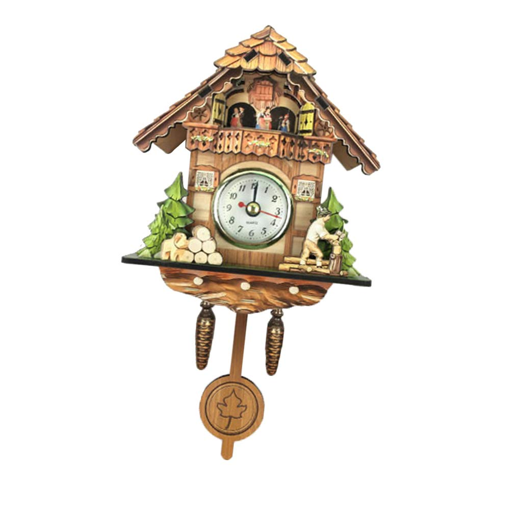 LOVIVER Wooden Vintage Look Cuckoo Clock Wall Art Home Cafe Hotel Decoration - C by LOVIVER
