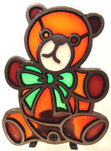 Stained Glass Style Christmas Votive Candle Holder, Teddy Bear Stained Glass Candle Holder, Teddy Bear Candle Holder, Teddy Bear Christmas Candle -