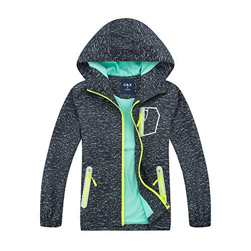 Boys Rain Jacket - Lightweight Waterproof Jacket for Boys with Hood,Best for Rain School Day,Hiking and Camping (0803, 10) ()