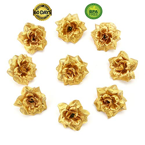 fake flowers heads Artificial Flowers Small Tea Bud Simulation Small Tea Rose Silk Flower Decoration Flower Head DIY Accessories 30pcs 4.5cm (Gold)