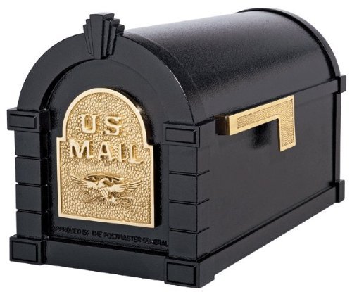 (Gaines KS-7A - Eagle Keystone Series Mailboxes - Black/Polished Brass)