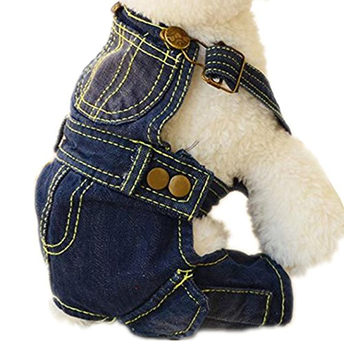 Tromy Pet Jean Clothes Dog Denim Overall/Poloshirt 2 Styles 5 Sizes S1,XS by Tromy (Image #2)