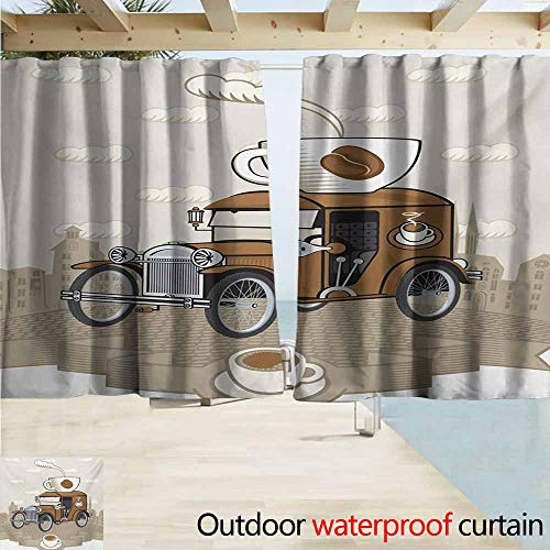 - AndyTours Outdoor Blackout Curtains,Cars Old Fashioned Car with Coffee Cup on The Top Caffeine Beverage Hot Drink,Darkening Thermal Insulated Blackout,W72x72L Inches,Caramel Cocoa White