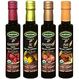 Mantova Organic Flavored Balsamic Vinegar of Modena, Pear, Raspberry, Fig and Pomegranate Vinegar 4-Pack Variety Set, 8.5 fl