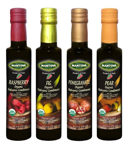 - Mantova Organic Flavored Balsamic Vinegar Condiment, Pear, Raspberry, Fig and Pomegranate Vinegar 4-Pack Variety Set, 8.5 fl oz. Per Bottle Great Gift Set