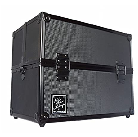"""Professional large makeup case with lock And key 14"""" our cosmetics makeup box Has 4 large adjustable trays excellent cosmetic organizer And makeup travel case"""