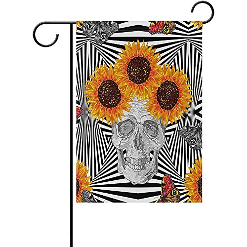 - Skull Butterfly Marigold Pattern Polyester Welcome Gardon Flag - Best for Party Yard and Home Outdoor Decor - 12x18 inches
