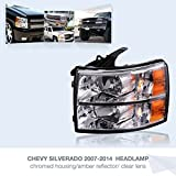 Driver Side Headlight Assembly for 2007-2014 Chevy Silverado Replacement Headlamp Driving Light Chromed Housing Amber Reflector Clear Lens,2 Year Warranty