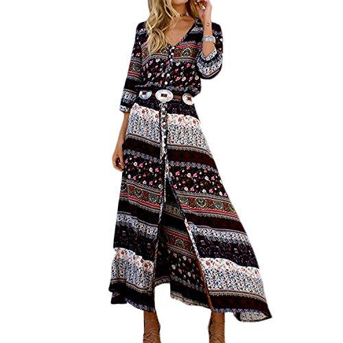 Semen Femme Maxi Robe Longue 3/4 Manche Col V Bohme Fente Robe de Plage Vacances Fluid Casual Marron