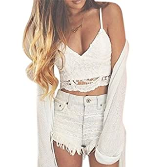 WILLTOO Women Crochet Tank Camisole Lace Vest Bra Crop Top (S)