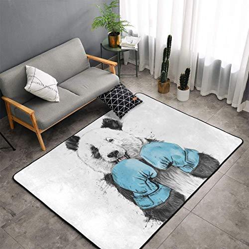 - Bedroom Livingroom Sitting-Room Queen Size Area Rug Home Decor, Boxing Minimalist Panda Graphics Doormat Quick Dry Bath Rugs, 60x39 Inch Non-Slip Yoga Mat Throw Rugs Carpet