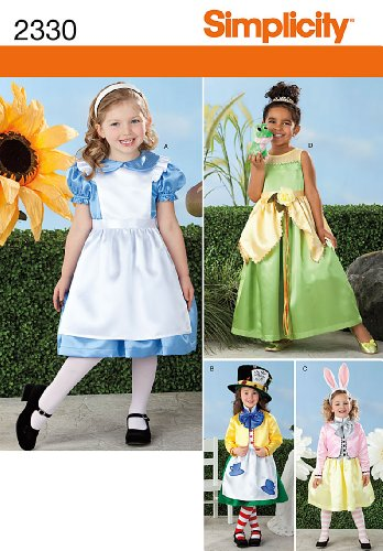 Simplicity Sewing Pattern 2330 Child's Alice in Wonderland Costumes, A (Alice In Wonderland Costume Pattern)