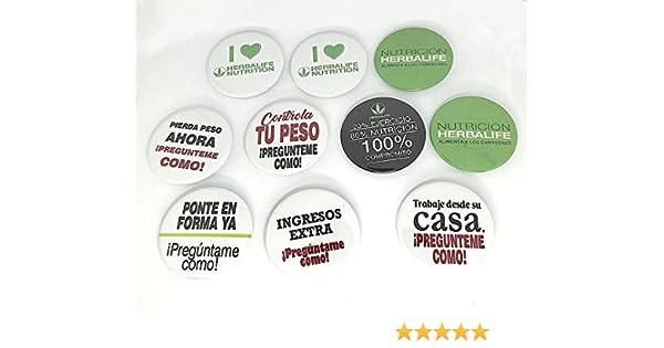 Chapas personalizadas con mensaje: HERBALIFE NUTRITION | 58mm | Regalo original. Pack de 10 unidades.: Amazon.es: Hogar