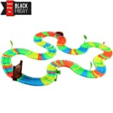Create A Road Flexible Track and LED Car Set, Glow-in-the-Dark Light Up Toys Christmas Gifts for Toddlers Boys & Girls 2, 3 and 4 Year Old