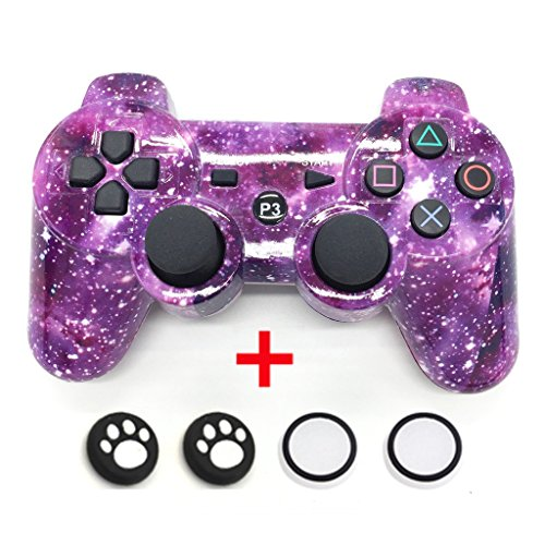 (Locd Bluetooth Wireless Dualshock Controller for PS3 with 2 - Luminous and 2 - Cat Thumb Stick Caps Cover, Purple Starry Sky)
