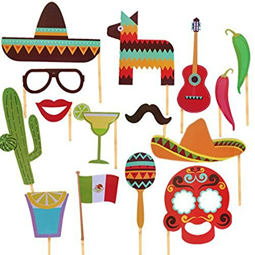 iFun iCool Mexican Themed Photo Booth Props Kit Decorations Attached to the Stick - Party Decorations 29PCS -