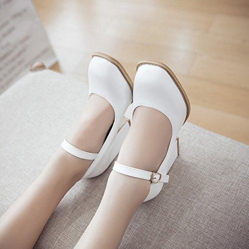 Talon Y2Y Bout et Blanc Bride Mode la Carré Studio Cheville Détente pour Rendez à Confort Femmes Escarpins Vous Simple Bloc Yx4qSY7
