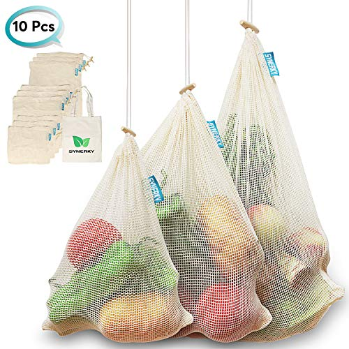 Reusable Produce Bags, SYNERKY Vegetable Bags Natural Cotton Mesh is Biodegradable Recyclable Packaging Machine Washable Tare Weight on Label Zero Waste, Set of 10, Small-Medium-Large