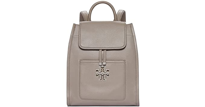 4c93034d3990 Tory Burch Britten Pebbled Leather Backpack Bag FRENCH GRAY