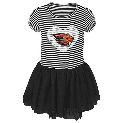 NCAA Oregon State Beavers Toddler Celebration Tutu Sequin Dress, Black, 4T