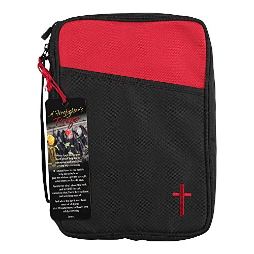 Firefighter's Prayer Red and Black Canvas Bible Cover Case with Handle, Thinline