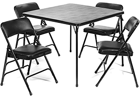 5pc. XL Series Folding Card Table and Triple Braced Vinyl Padded Chair Set, Commercial Quality, - Black Poker Game Table