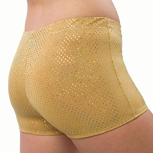 Sequin Cheer Briefs - Pizzazz Girls Gold Sequin Boy Cut Brief Cheer Dance Shorts 2T-4T