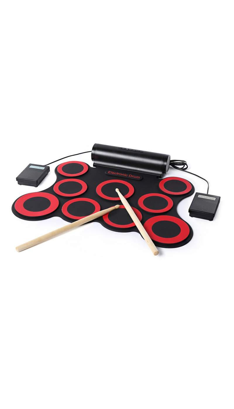 USB B06Y1YWBN9  インターフェイスコンピュータゲームパーカッション,Red Red 9ドラムポータブル電子ドラム折りたたみドラム