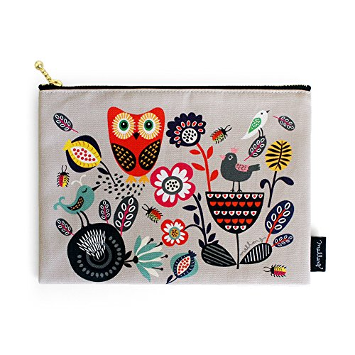 MallangLuna Handmade Cotton Cosmetic Makeup Pouch Canvas Zipper Pencil Pouch (The Forest, Sing) - Handmade Zipper Fabric