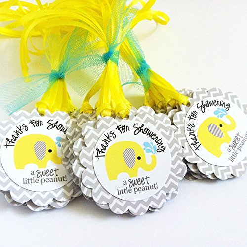 Thanks for Showering Yellow Grey Elephant Favor Tags for Baby Shower Party Celebration - Set of 12 -