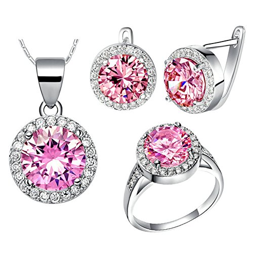 Babao Jewelry Luxurious Pink Round 18K Platinum Plated Cubic Zirconia Crystals Pendant Necklace Earrings Jewelry Sets Ring Size 6