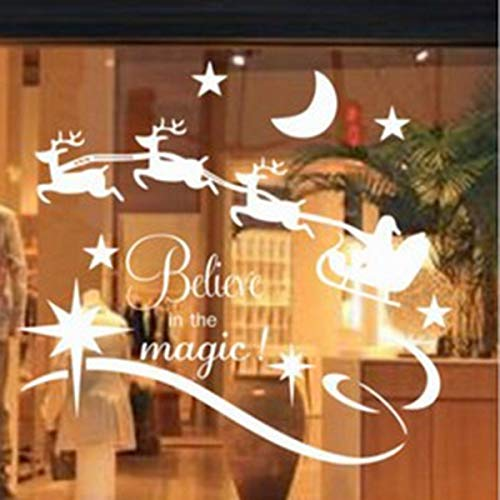 Homyy Vinyl Stickers Wall Window Christmas Glass Kids Room Christmas Decoration for Bedroom Living -