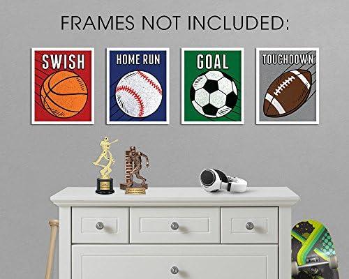 Elegant Signs Sports Decor for Boys Room - Set of 12 (Football, Basketball,  Baseball, Soccer) 12x12 Wall Art Prints for Decoration