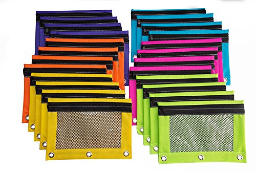 Pencil Pouch Three Hole Binder - with Mesh Window – Fits in 3-Ring Loose Leaf Binder – Double Pockets - Water Resistant Interior - Case for School Supply Accessories - Set of 24 by Asmo