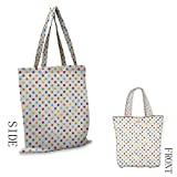 Shopping Bags for Home & Kitchen Abstract Colorful Polka Dots Round Circular Vintage Fashion Girls Feminine Baby Design Foldable and Collapsib