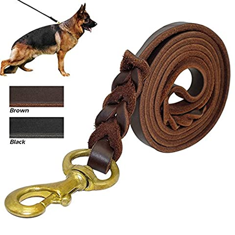 GOLDBELL Leather Dog Leash 6 Foot - Best Braided Dog Leash No Pull Heavy Duty for Large Medium Small Dogs Training and Walking(Brown,3/4