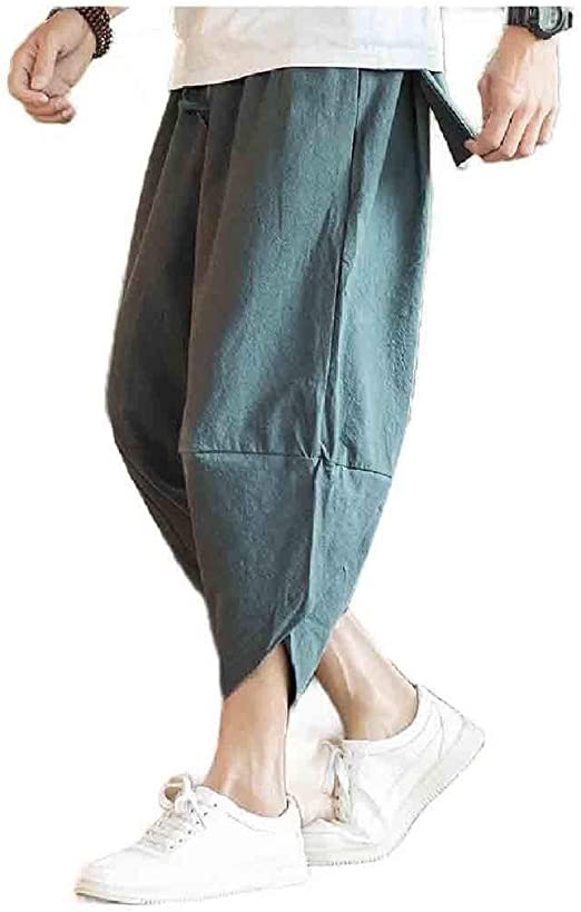 VITryst Men's Relaxed Breathable Plus-size Summer Relaxed-Fit Solid Leg Pants