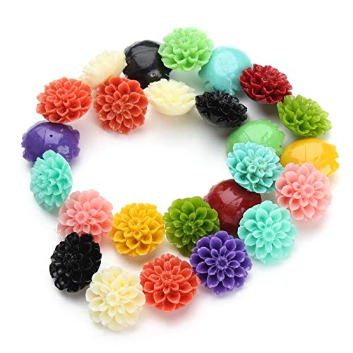 Calvas 1 Strand/lot Colorful Coral Daisy Chrysanthemum Resin Flower Beads DIY Jewelry Making for Girls Women Bracelet Necklace Bead - (Item Diameter: 15mm)
