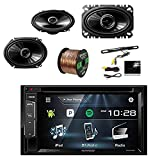 Kenwood DDX24BT Multimedia Bluetooth Receiver w/Pyle License Plate Mount Rear View Color Camera, Pioneer 250W 6x8'' 2-Way SPKR(Pair), Pioneer 4x6'' 2-Way 200W SPKR(Pair) & Enrock 16G 50' SPKR Wire