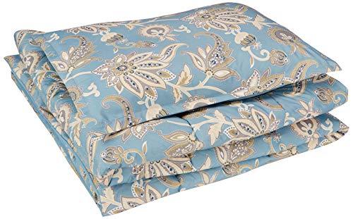 AmazonBasics Comforter Set - Soft, Easy-Wash Microfiber - Twin/Twin XL, Sea Foam Jacobean