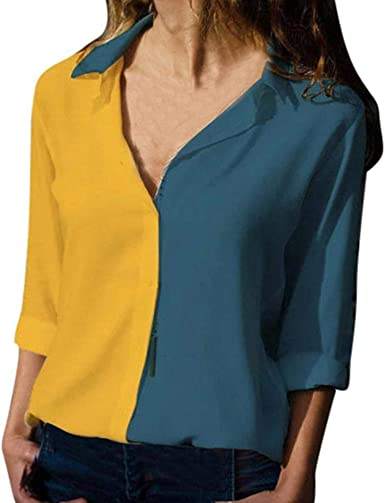 VJGOAL Moda para Mujer Color sólido Costura Manga Larga Solapa Camisas Tops Casual Suelta V Cuello Blusa: Amazon.es: Ropa y accesorios
