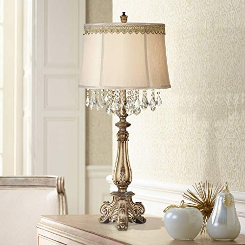 Dubois Traditional Console Table Lamp Antique Gold Crystal Scallop Lace Trim Shade for Living Room Family Bedroom Bedside - Barnes and Ivy