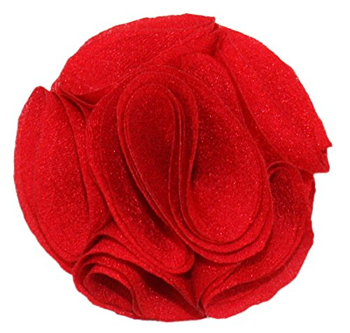 (Ted and Jack - Solid Silky Classic Flower Lapel Pin Boutonniere (Red Rose))