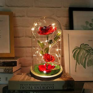 URBANSEASONS Beauty and The Beast Rose Enchanted Rose,Red Silk Rose and Led Light with Fallen Petals in Glass Dome on Wooden Base, for Valentine's Day Wedding Anniversary Mother's Day Birthday Party 1