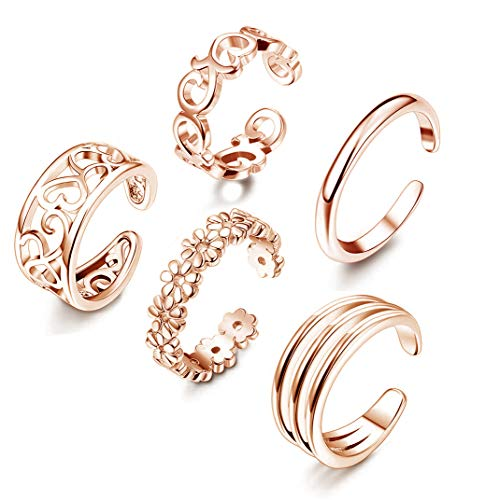 Diamond Set Celtic Ring - Adramata 5 Pcs Open Toe Rings for Women Girls Adjustable Flower Celtic Knot Simple Toe Ring Gifts Jewelry Set