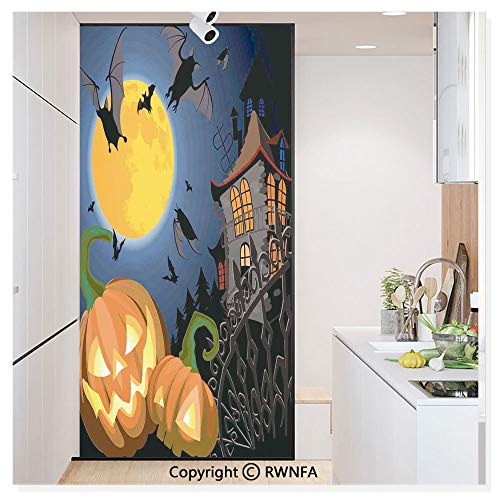 Non-Adhesive Privacy Window Film Door Sticker Gothic Halloween Haunted House Party Theme Decor Trick or Treat for Kids Glass Film 23.6 in. by 78.7in. (60cm by -